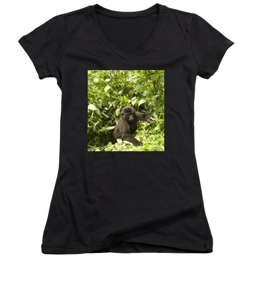 Women's V-Neck T-Shirt (Junior Cut) featuring the photograph Into The Light by Liz Leyden
