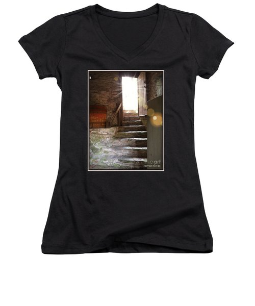 Women's V-Neck T-Shirt (Junior Cut) featuring the photograph Into The Light - The Ephrata Cloisters by Joseph J Stevens