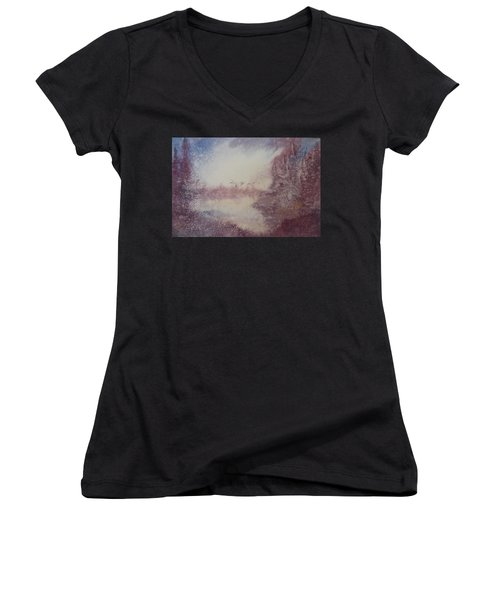 Women's V-Neck T-Shirt (Junior Cut) featuring the painting Into The Storm by Richard Faulkner