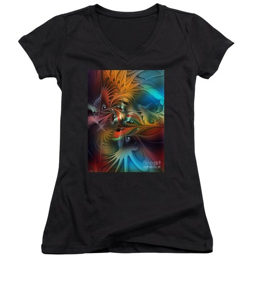 Intricate Life Paths-abstract Art Women's V-Neck