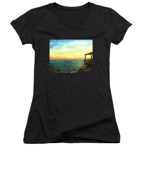 Women's V-Neck T-Shirt (Junior Cut) featuring the painting Ionian Sea Zanti Greek Island by Teresa White