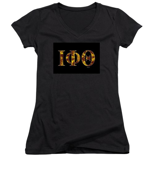 Iota Phi Theta - Black Women's V-Neck T-Shirt (Junior Cut) by Stephen Younts