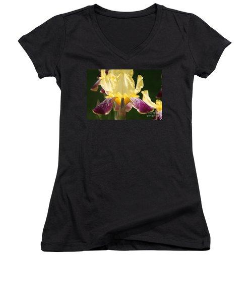 Women's V-Neck T-Shirt (Junior Cut) featuring the photograph Iris by Jolanta Anna Karolska