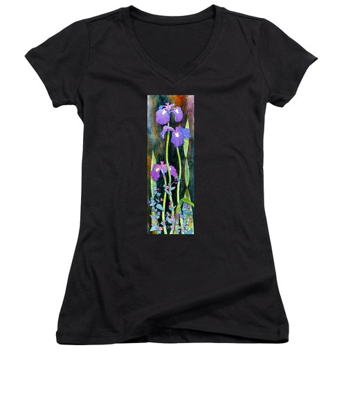 Women's V-Neck T-Shirt (Junior Cut) featuring the painting Iris Tall And Slim by Teresa Ascone