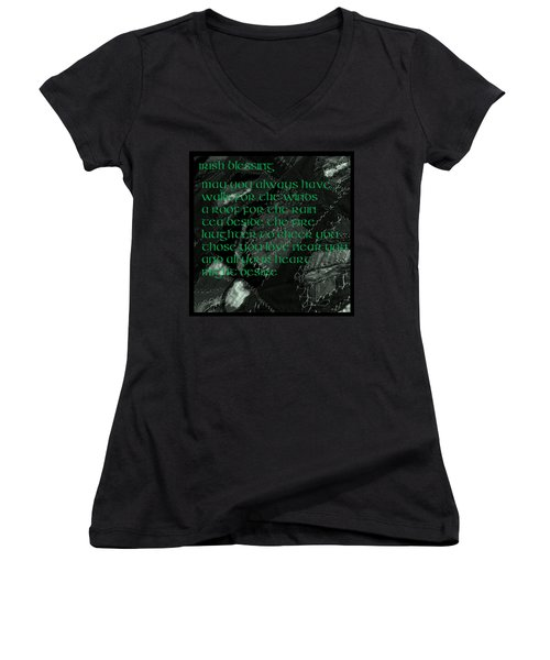 Irish Blessing Stitched In Time Women's V-Neck T-Shirt