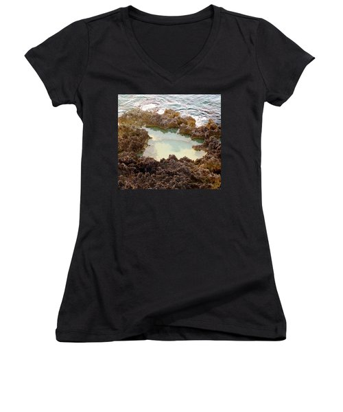 Women's V-Neck T-Shirt (Junior Cut) featuring the photograph Ironshore Tidewater Pool by Amar Sheow