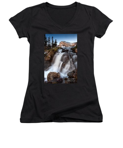 Isabelle Falls Women's V-Neck T-Shirt (Junior Cut) by Steven Reed
