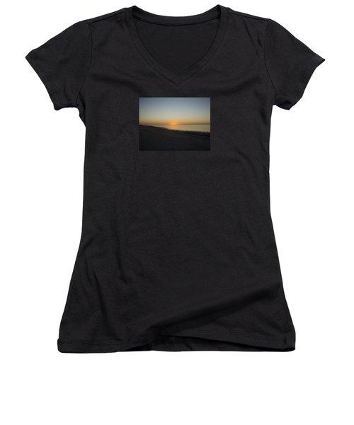 Women's V-Neck T-Shirt (Junior Cut) featuring the photograph Island Sunset by Robert Nickologianis