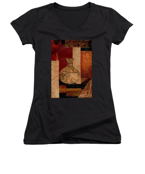 Italian Urn Collage Women's V-Neck T-Shirt (Junior Cut) by Patricia Cleasby