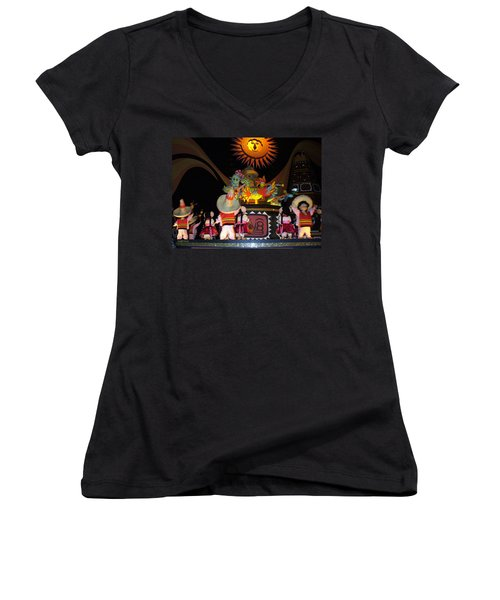 It's A Small World With Dancing Mexican Character Women's V-Neck (Athletic Fit)
