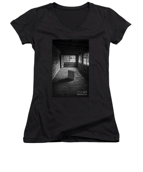 Women's V-Neck T-Shirt (Junior Cut) featuring the photograph It's Empty Now by Debra Fedchin