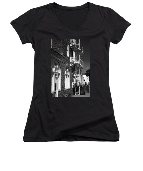 Jacaranda Hotel Fire Escape Women's V-Neck T-Shirt