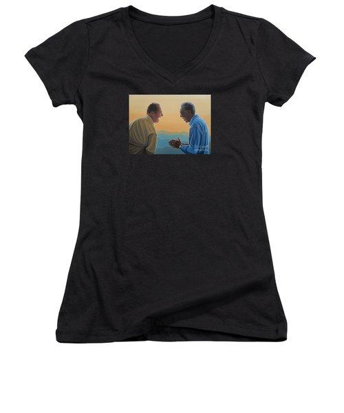 Jack Nicholson And Morgan Freeman Women's V-Neck T-Shirt (Junior Cut) by Paul Meijering