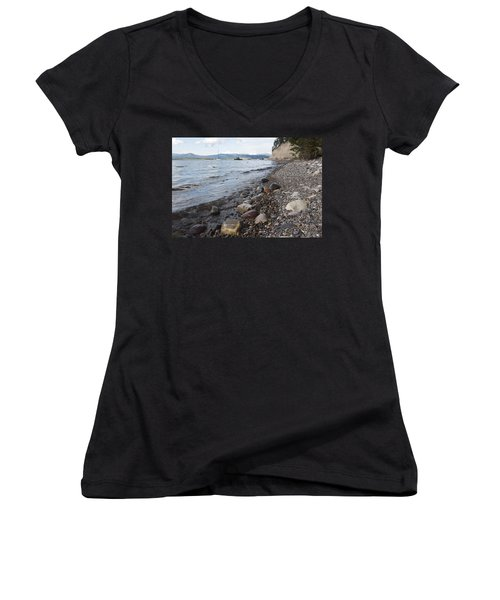 Women's V-Neck T-Shirt (Junior Cut) featuring the photograph Jackson Lake With Boats by Belinda Greb