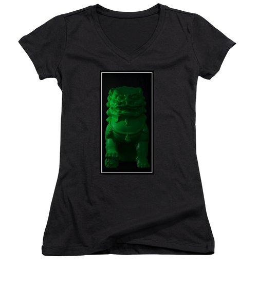 Women's V-Neck T-Shirt (Junior Cut) featuring the digital art Jade... by Tim Fillingim