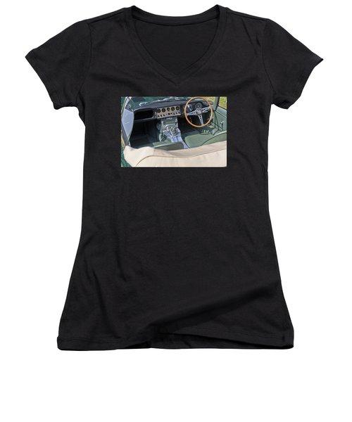 Jaguar E-type Series 1 Women's V-Neck T-Shirt (Junior Cut) by Maj Seda