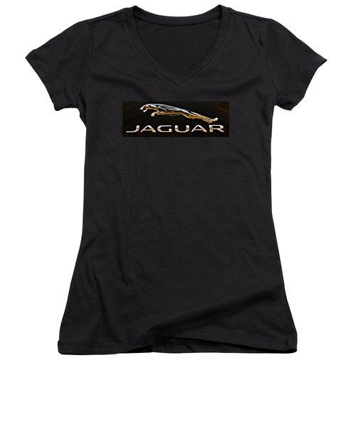 Jaguar Leaper F-type Spoiler Women's V-Neck (Athletic Fit)