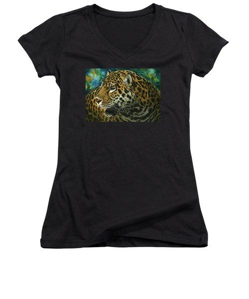 Women's V-Neck T-Shirt (Junior Cut) featuring the mixed media Jaguar by Sandra LaFaut