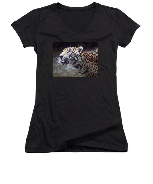Jaguar Sticking Out Tongue Women's V-Neck (Athletic Fit)
