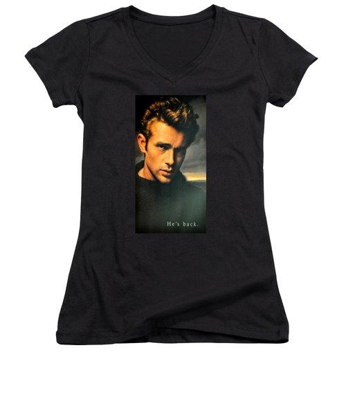 James Dean Women's V-Neck T-Shirt (Junior Cut) by Jay Milo