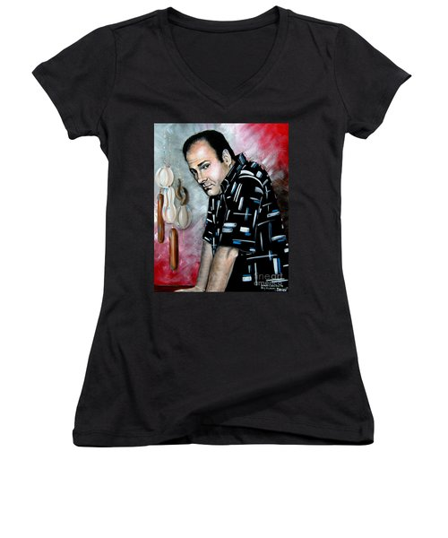 Women's V-Neck T-Shirt (Junior Cut) featuring the painting James Gandolfini As Tony Soprano by Patrice Torrillo