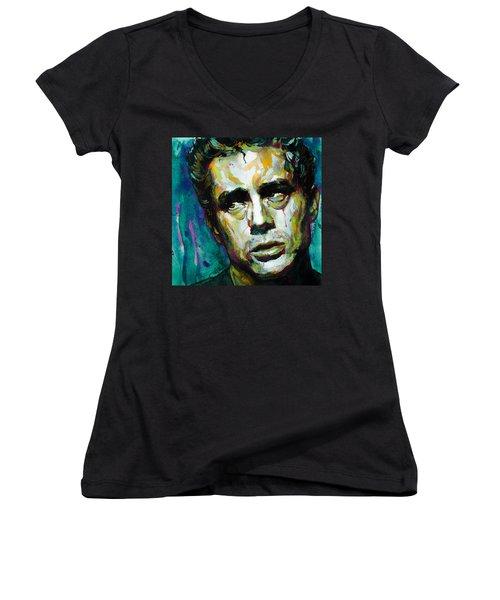James... Women's V-Neck T-Shirt (Junior Cut) by Laur Iduc