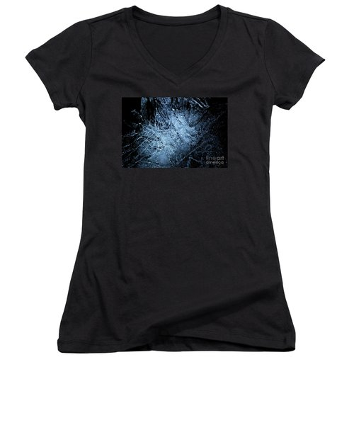 Women's V-Neck T-Shirt (Junior Cut) featuring the photograph jammer Frozen Cosmos by First Star Art