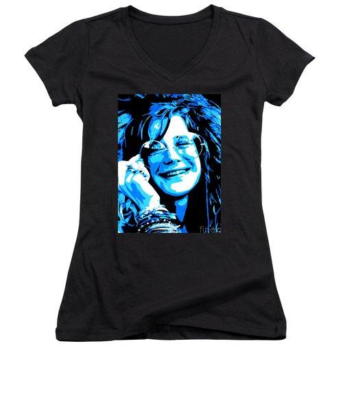 Janis Joplin. Women's V-Neck T-Shirt