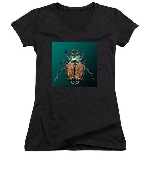 Japanese Beetle Bedazzled II Women's V-Neck (Athletic Fit)