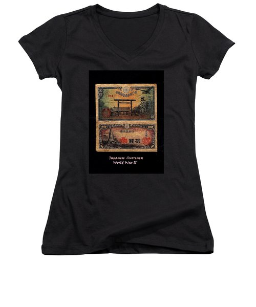Japanese Currency From World War II Women's V-Neck T-Shirt