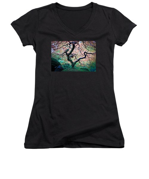Japanese Maple In Autumn Women's V-Neck T-Shirt (Junior Cut) by Athena Mckinzie