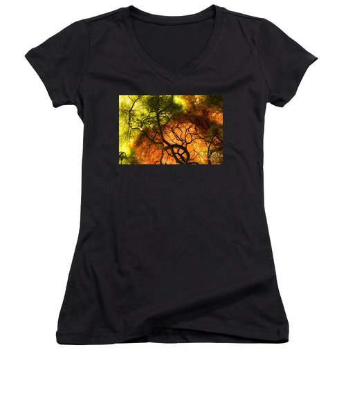 Japanese Maples Women's V-Neck T-Shirt (Junior Cut) by Angela DeFrias