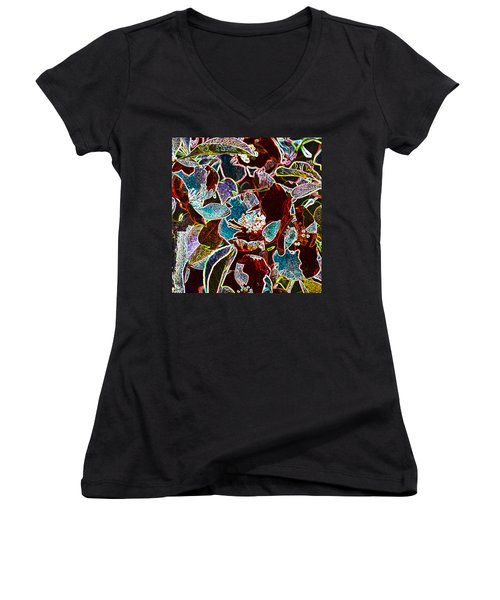 Japanese Quince In Abstract Women's V-Neck (Athletic Fit)