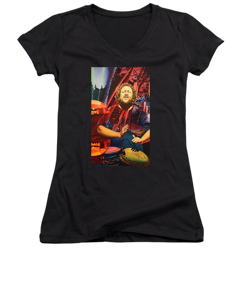 Women's V-Neck T-Shirt (Junior Cut) featuring the painting Jason Hann At Horning's Hideout by Joshua Morton