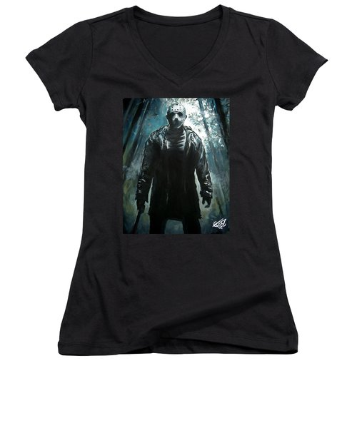 Jason Women's V-Neck T-Shirt (Junior Cut) by Tom Carlton