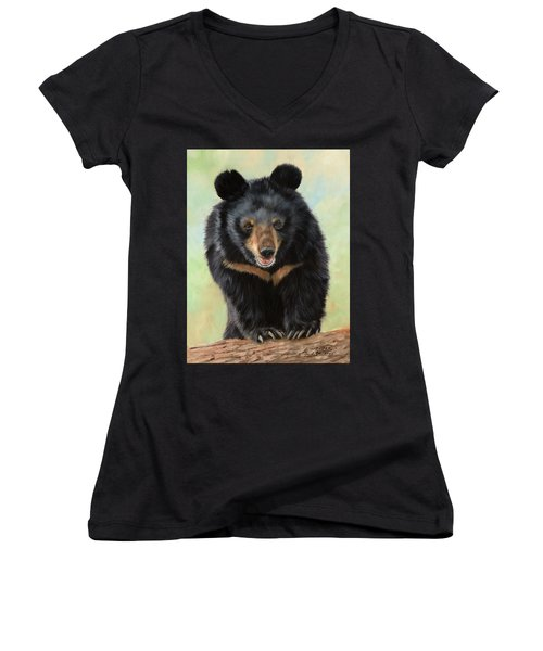Jasper Moon Bear - In Support Of Animals Asia Women's V-Neck T-Shirt (Junior Cut) by David Stribbling