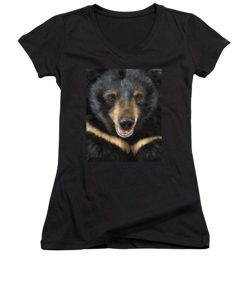 Jasper Moon Bear - In Support Of Animals Asia Women's V-Neck T-Shirt (Junior Cut) by Rachel Stribbling