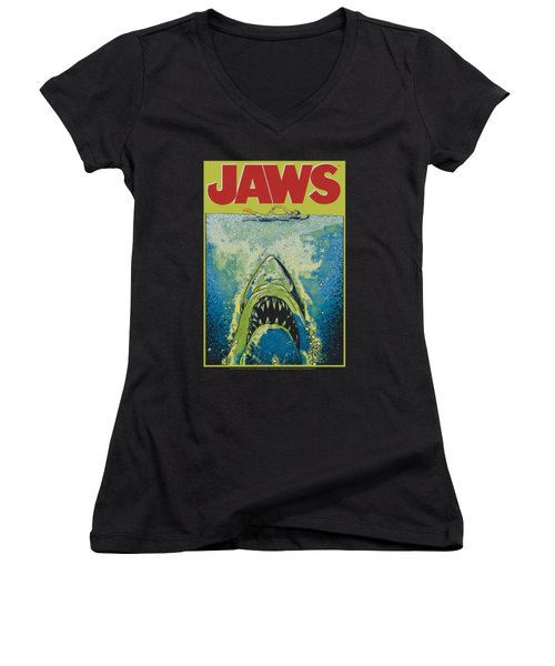 Jaws - Bright Jaws Women's V-Neck T-Shirt (Junior Cut) by Brand A