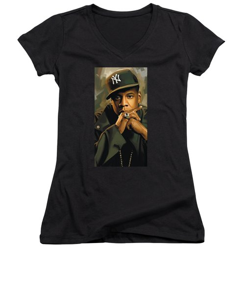 Jay-z Artwork 2 Women's V-Neck T-Shirt (Junior Cut) by Sheraz A