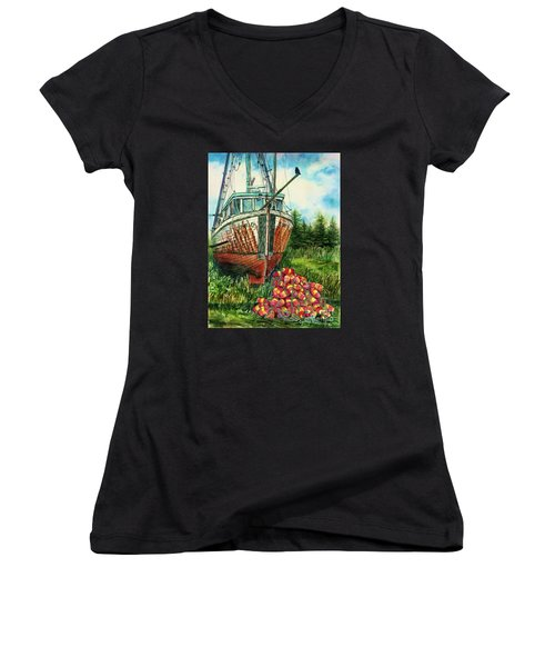 Jeanie O And The Crow Women's V-Neck (Athletic Fit)
