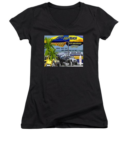 Women's V-Neck T-Shirt (Junior Cut) featuring the photograph Jeep Beach 2013 Welcomes All Jeepers by DigiArt Diaries by Vicky B Fuller