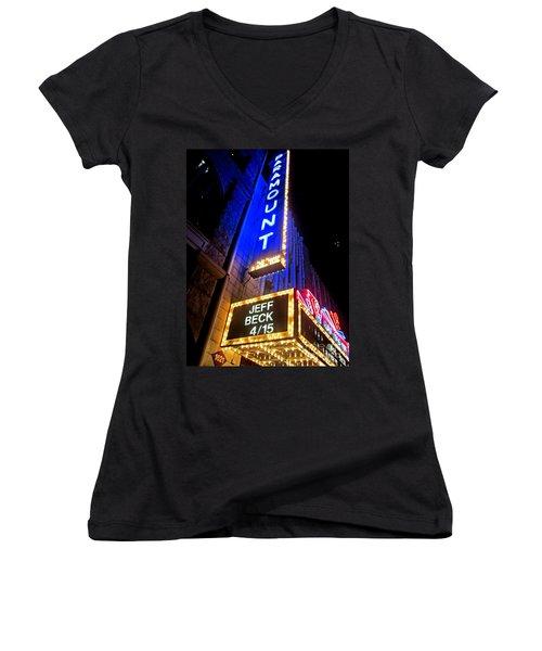 Jeff Beck At The Paramount Women's V-Neck T-Shirt (Junior Cut) by Fiona Kennard