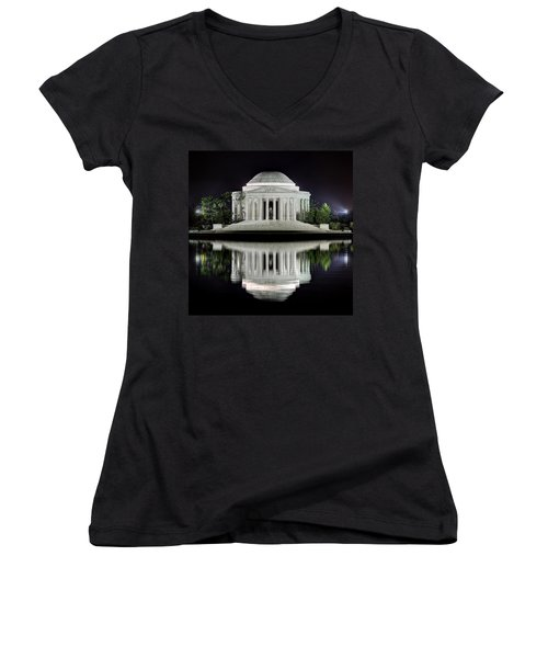Jefferson Memorial - Night Reflection Women's V-Neck
