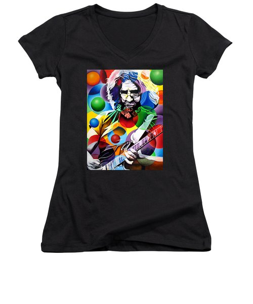 Jerry Garcia In Bubbles Women's V-Neck T-Shirt