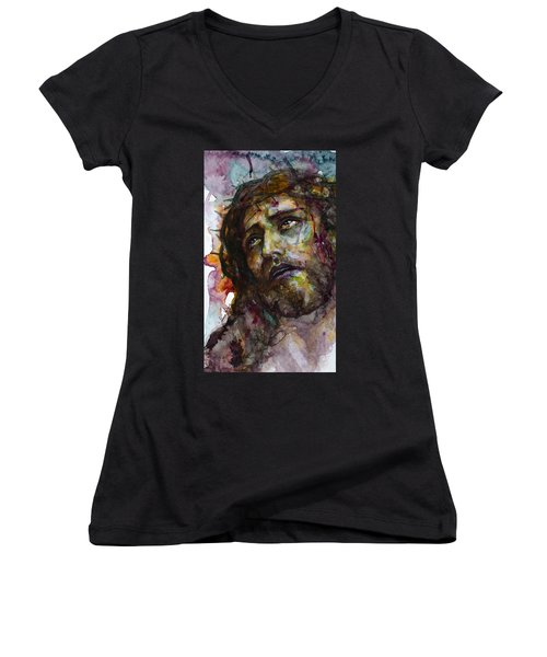 Women's V-Neck T-Shirt (Junior Cut) featuring the painting Jesus Christ by Laur Iduc