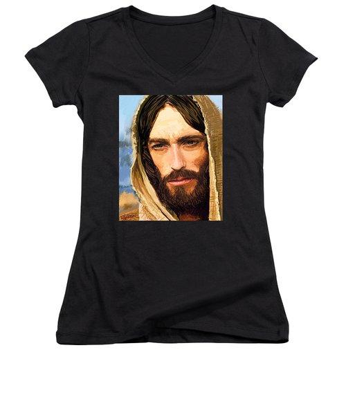 Jesus Of Nazareth Portrait Women's V-Neck T-Shirt (Junior Cut) by Dave Luebbert