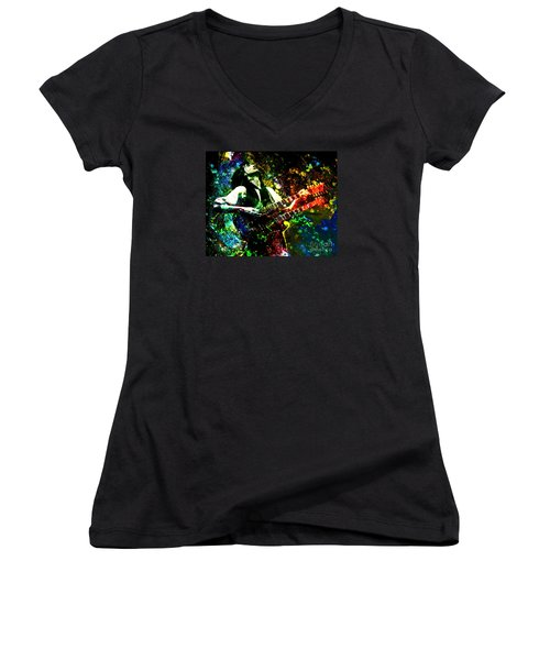 Jimmy Page - Led Zeppelin - Original Painting Print Women's V-Neck T-Shirt (Junior Cut) by Ryan Rock Artist