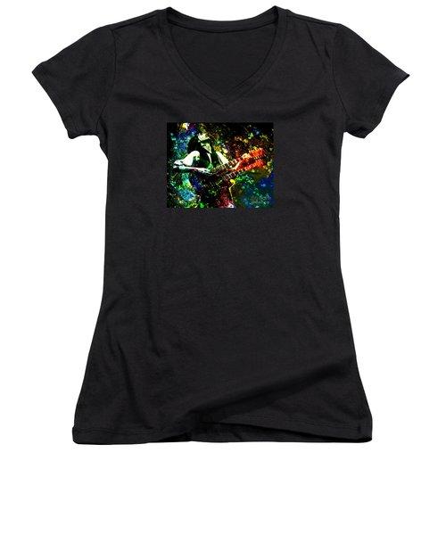 Jimmy Page - Led Zeppelin - Original Painting Print Women's V-Neck T-Shirt