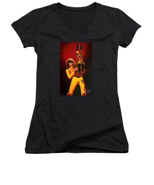 Jimmy Page Painting Women's V-Neck T-Shirt (Junior Cut) by Paul Meijering