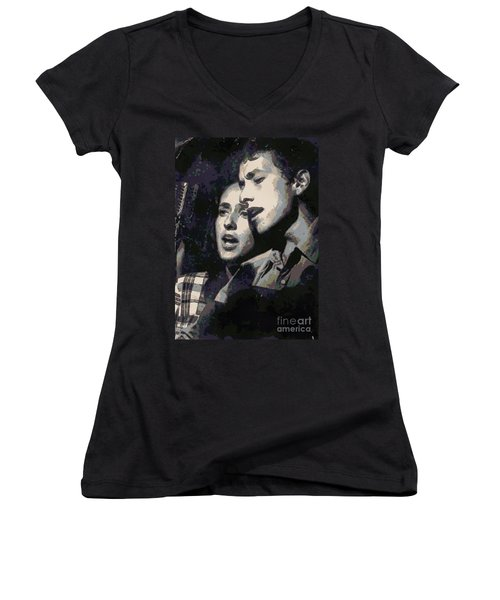 Joan Baez And Bob Dylan Women's V-Neck T-Shirt